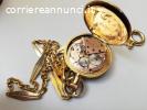 Orologio da taschino d'epoca 1850 in oro 18k con catena 18k
